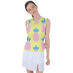 Summer Pineapple Seamless Pattern Women s Sleeveless Mesh Sports Top by Sobalvarro