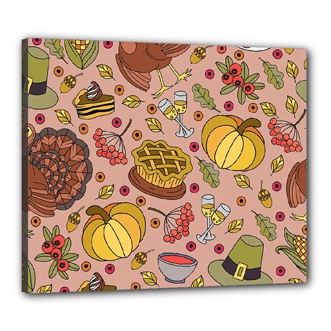 Thanksgiving Pattern Canvas 24  X 20  (stretched) by Sobalvarro