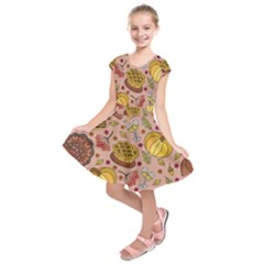 Thanksgiving Pattern Kids  Short Sleeve Dress by Sobalvarro