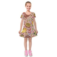 Thanksgiving Pattern Kids  Short Sleeve Velvet Dress by Sobalvarro