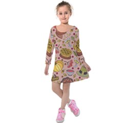 Thanksgiving Pattern Kids  Long Sleeve Velvet Dress by Sobalvarro