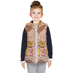 Thanksgiving Pattern Kids  Hooded Puffer Vest by Sobalvarro