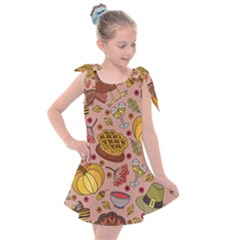Thanksgiving Pattern Kids  Tie Up Tunic Dress by Sobalvarro