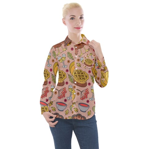 Thanksgiving Pattern Women s Long Sleeve Pocket Shirt by Sobalvarro