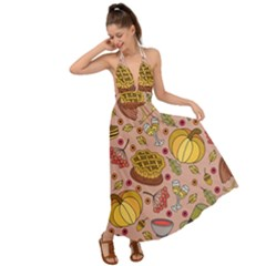 Thanksgiving Pattern Backless Maxi Beach Dress by Sobalvarro