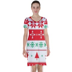 Ugly Christmas Sweater Pattern Short Sleeve Nightdress