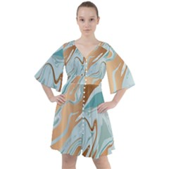Gold Mint Marble Boho Button Up Dress