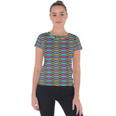 Seamless Tile Pattern Short Sleeve Sports Top  by HermanTelo