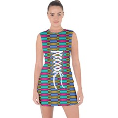 Seamless Tile Pattern Lace Up Front Bodycon Dress