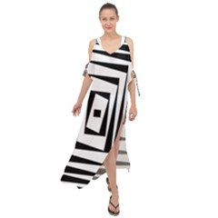 Background Black White Design Maxi Chiffon Cover Up Dress