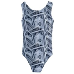 Pattern Texture Dollar Kids  Cut Out Back One Piece Swimsuit