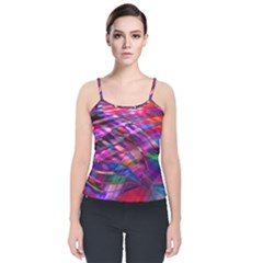 Wave Lines Pattern Abstract Velvet Spaghetti Strap Top by Alisyart