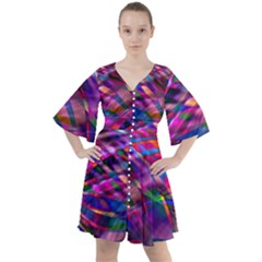 Wave Lines Pattern Abstract Boho Button Up Dress