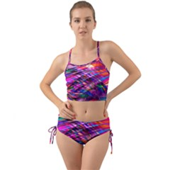 Wave Lines Pattern Abstract Mini Tank Bikini Set