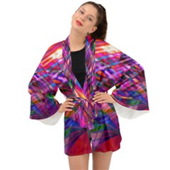 Wave Lines Pattern Abstract Long Sleeve Kimono