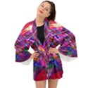 Wave Lines Pattern Abstract Long Sleeve Kimono View1