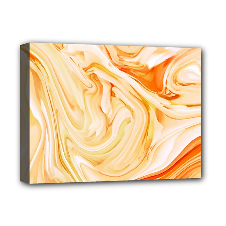 Orange liquid marble Deluxe Canvas 16  x 12  (Stretched)