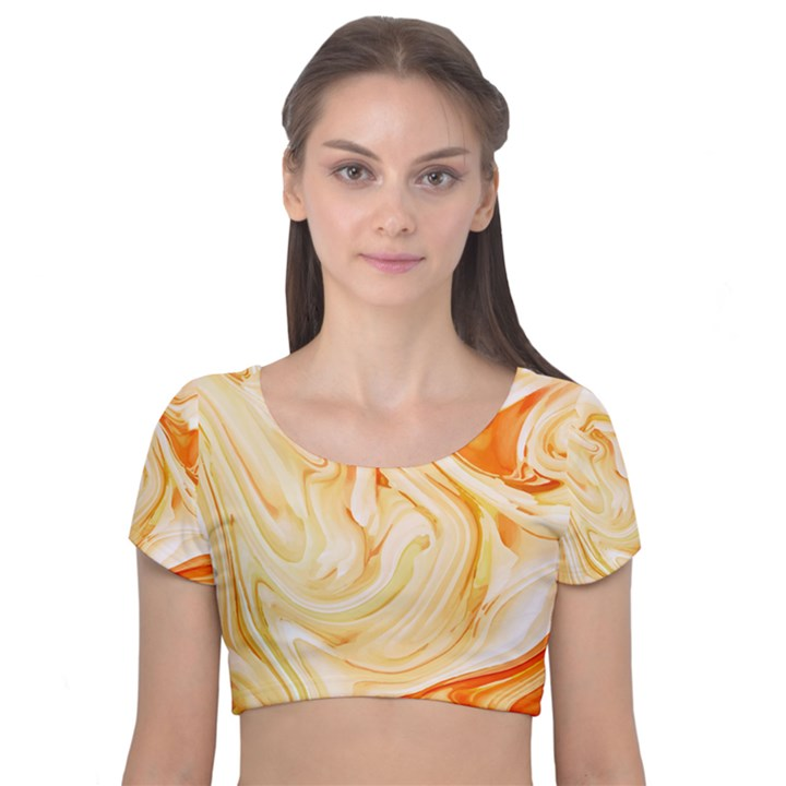 Orange liquid marble Velvet Short Sleeve Crop Top