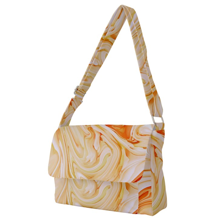 Orange liquid marble Full Print Messenger Bag (L)