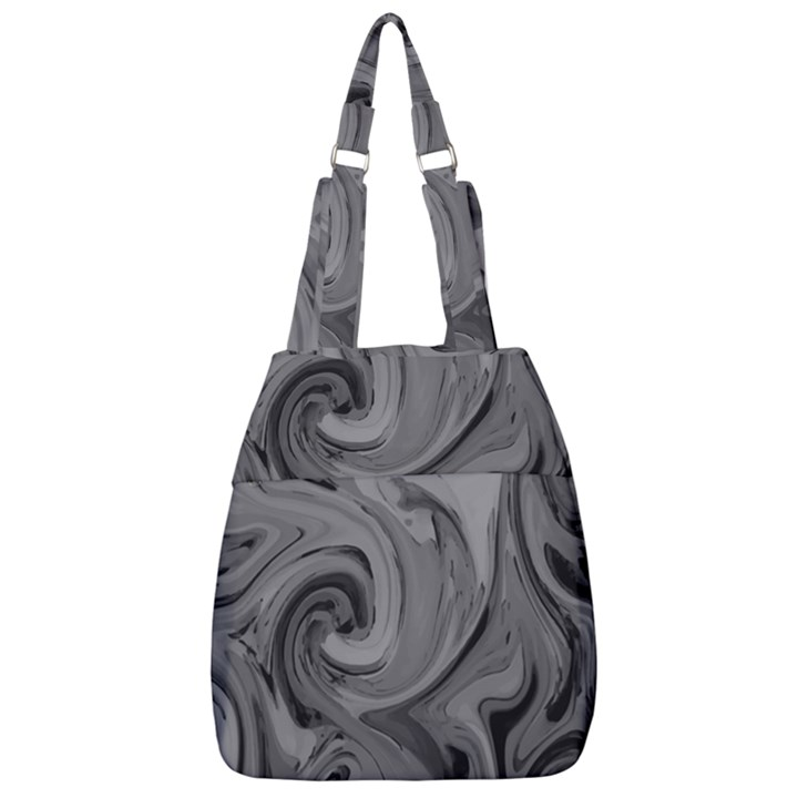 Black liquid marble Center Zip Backpack