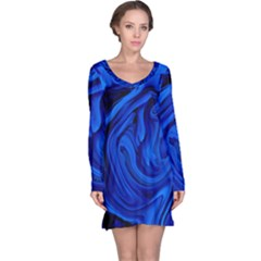 Blue Liquid Marble Long Sleeve Nightdress