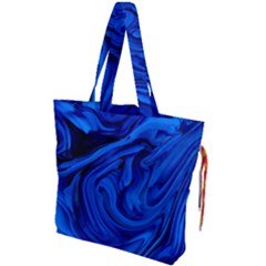 Blue Liquid Marble Drawstring Tote Bag