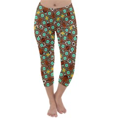 Colorful Modern Geometric Print Pattern Capri Winter Leggings