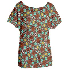 Colorful Modern Geometric Print Pattern Women s Oversized Tee by dflcprintsclothing
