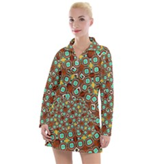 Colorful Modern Geometric Print Pattern Women s Long Sleeve Casual Dress by dflcprintsclothing