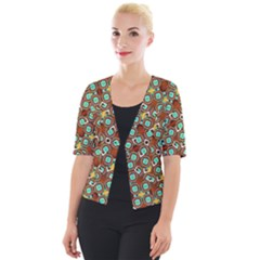 Colorful Modern Geometric Print Pattern Cropped Button Cardigan by dflcprintsclothing