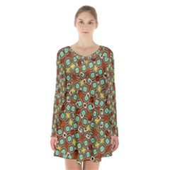 Colorful Modern Geometric Print Pattern Long Sleeve Velvet V Neck Dress