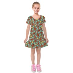 Colorful Modern Geometric Print Pattern Kids  Short Sleeve Velvet Dress by dflcprintsclothing