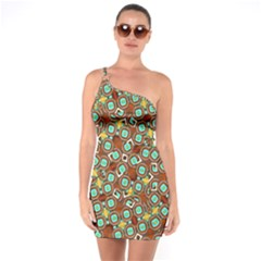 Colorful Modern Geometric Print Pattern One Soulder Bodycon Dress by dflcprintsclothing