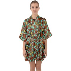 Colorful Modern Geometric Print Pattern Half Sleeve Satin Kimono  by dflcprintsclothing