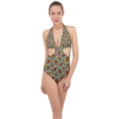 Colorful Modern Geometric Print Pattern Halter Front Plunge Swimsuit by dflcprintsclothing