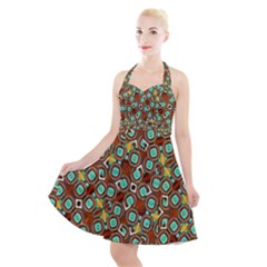 Colorful Modern Geometric Print Pattern Halter Party Swing Dress  by dflcprintsclothing