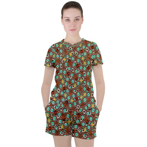 Colorful Modern Geometric Print Pattern Women s Tee And Shorts Set by dflcprintsclothing