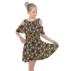 Colorful Modern Geometric Print Pattern Kids  Shoulder Cutout Chiffon Dress by dflcprintsclothing