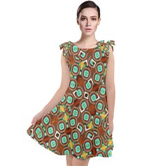 Colorful Modern Geometric Print Pattern Tie Up Tunic Dress by dflcprintsclothing