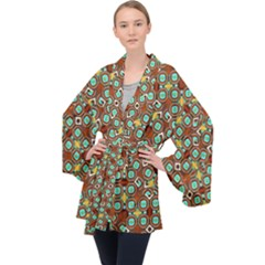 Colorful Modern Geometric Print Pattern Long Sleeve Velvet Kimono
