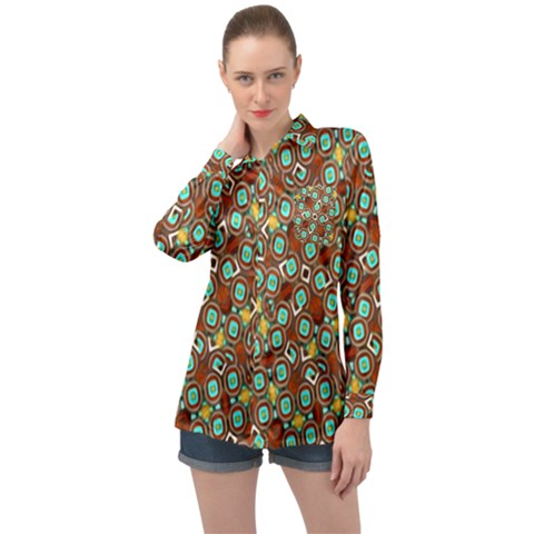 Colorful Modern Geometric Print Pattern Long Sleeve Satin Shirt by dflcprintsclothing