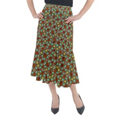 Colorful Modern Geometric Print Pattern Midi Mermaid Skirt by dflcprintsclothing