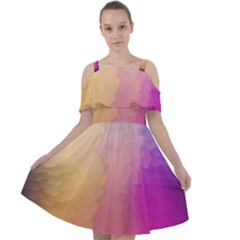 Abstract Fantasy Cut Out Shoulders Chiffon Dress