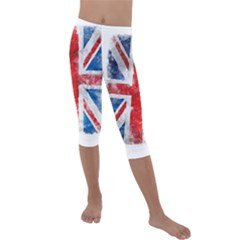 Grunge Union Jack Kids  Lightweight Velour Capri Leggings  by goljakoff