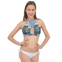 Merry Christmas, Funny Mushroom With Christmas Hat Cross Front Halter Bikini Top