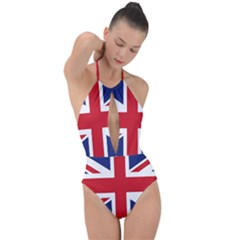 United Kingdom Flag Plunge Cut Halter Swimsuit