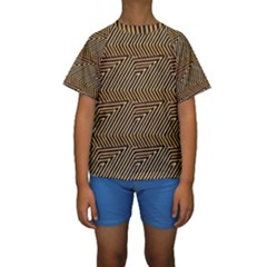 Pattern Illusion Optical Depth Kids  Short Sleeve Swimwear by AnjaniArt