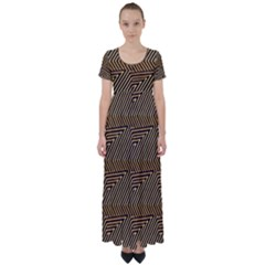 Pattern Illusion Optical Depth High Waist Short Sleeve Maxi Dress