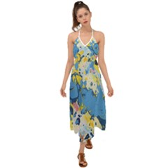 Blue And Yellow Paint Halter Tie Back Dress