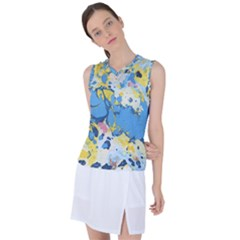 Blue And Yellow Paint Women s Sleeveless Mesh Sports Top
